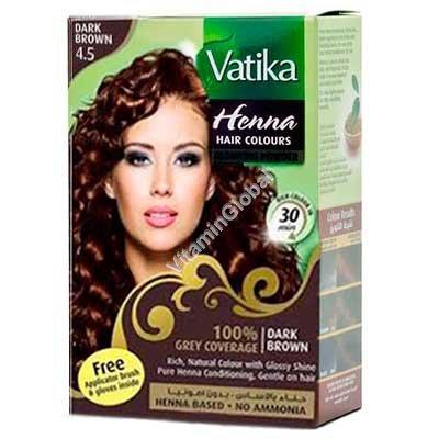 """חינה לשיער גוון חום כהה 60 גרם (6 שק\' של 10 גרם כ""""א) - וטיקה"""