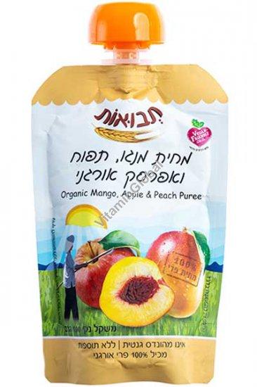 מחית מנגו, תפוח ואפרסק אורגני 100 גרם - תבואות