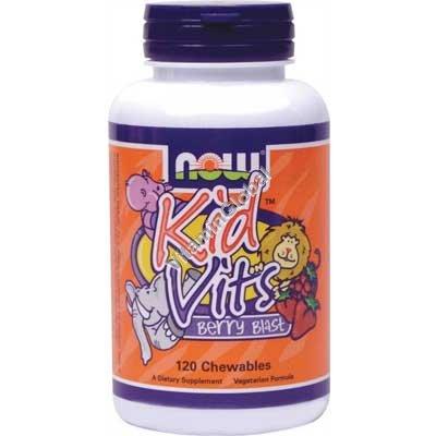 מולטי ויטמין לילדים ללעיסה קיד ויטס בטעם פירות יער 120 יח - נאו פודס