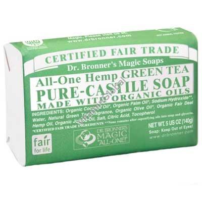 """סבון טבעי אמיתי תה ירוק 140 גרם - ד""""ר ברונר"""