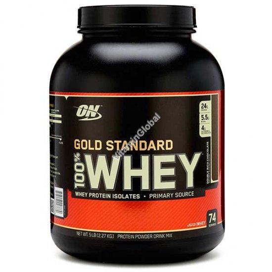 גולד סטנדארט - אבקת חלבון מי גבינה בטעם שוקולד 2.270 גרם - אופטימום נוטרישן + שייקר מתנה