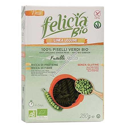 פסטה אורגנית ללא גלוטן מקמח אפונה ירוקה בצורת פוסילי 250 גרם - פליסיה