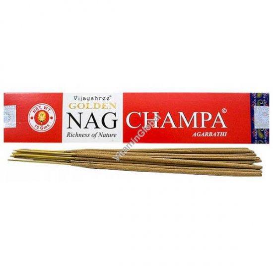 קטורת טבעית גולדן נאג צ\'אמפה 15 גרם - Vijayshree Fragrance