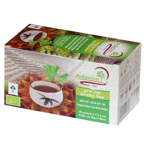 תה ירוק אורגני עם גינקו 20 שק\' - עדנים