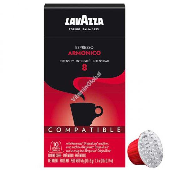 קפסולות קפה אספרסו, 100% קפה ערביקה, עוצמה 8, 10 קפסולות 50 גרם - לוואצה