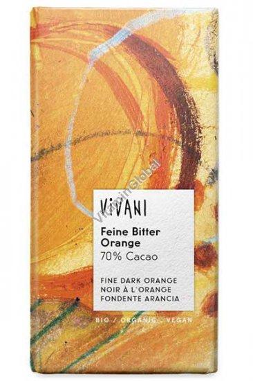 שוקולד אורגני מריר 70% קקאו בטעם תפוז 100 גרם - ויואני