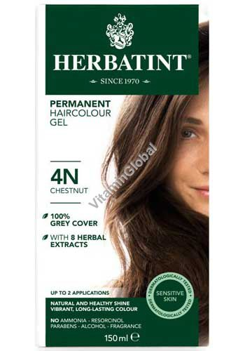 צבע לשיער קבוע על בסיס צמחים גוון ערמוני (4N) - הרבטינט