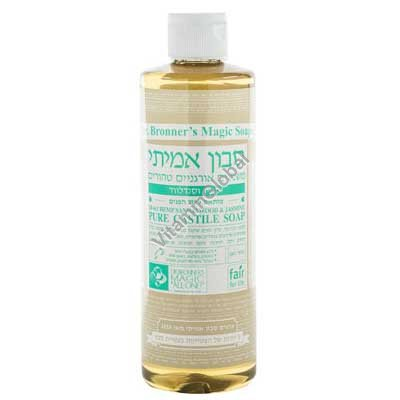 """סבון טבעי אמיתי נוזלי המפ, יסמין וסנדלווד 472 מ""""ל - ד""""ר ברונר"""
