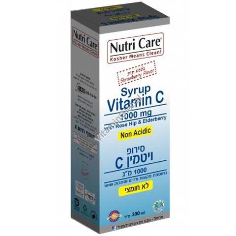 """סירופ ויטמין C-1000 לא חומצי בתוספת פקעות ורדים וסמבוק שחור בטעם תות 200 מ""""ל - נוטרי קר"""
