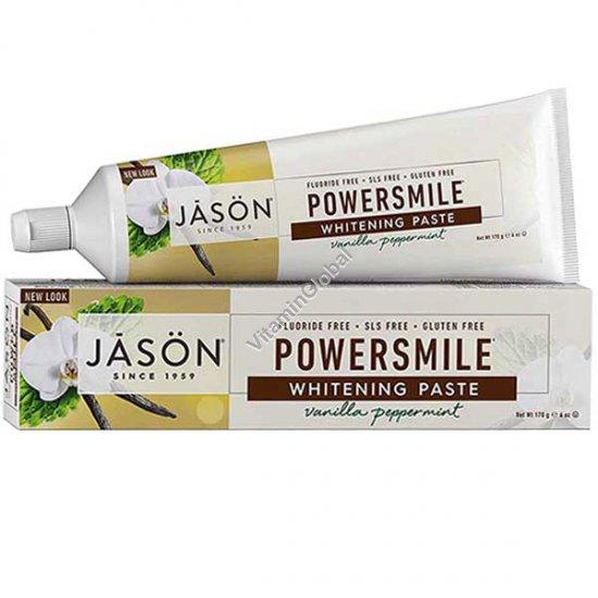 משחת שיניים טבעית מלבינה בטעם וניל ומנטה 170 גרם - ג\'סון