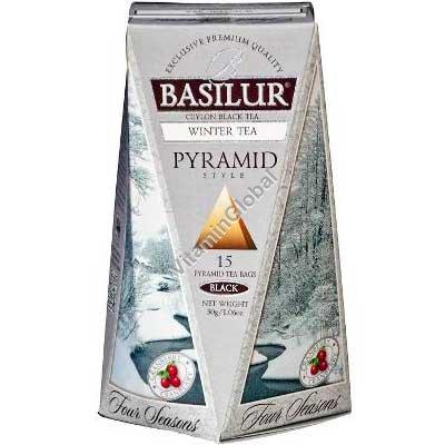 פרימיום תה שחור עם חמוציות 15 שקיות תה בצורה של פירמידה - בסילור