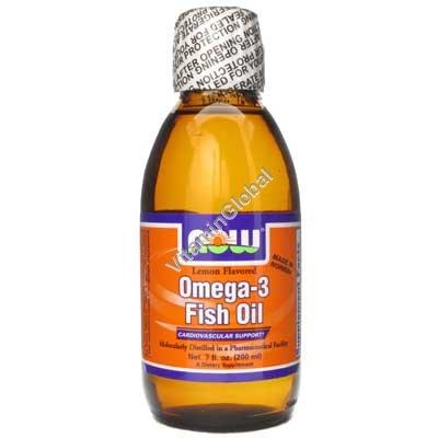 """אומגה 3 - שמן דגים נוזלי בטעם מעודן 200 מ""""ל - נאו פודס"""
