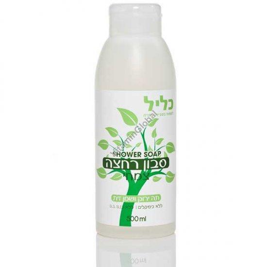 """ג\'ל סבון רחצה צמחי מועשר בתמצית תה ירוק ושמן זית 500 מ""""ל - כליל"""