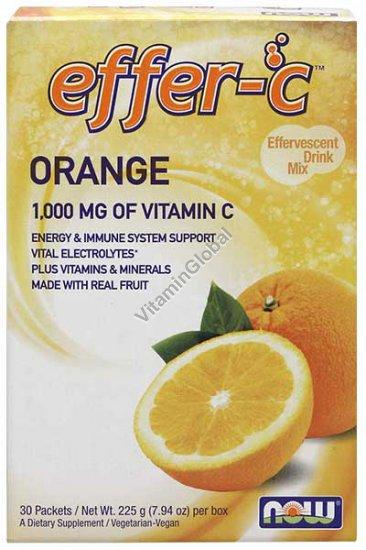אפר סי Effer C - אבקה להכנת משקה עם ויטמין C-1000 בטעם תפוז 225 גרם (30 מנות באריזות אישיות) - נאו פודס