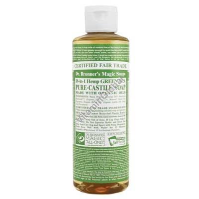 """סבון טבעי נוזלי תה ירוק 472 מ""""ל - ד""""ר ברונר"""