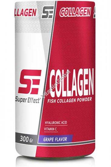 אבקת קולגן דגים פפטידי בטעם ענבים בתוספת חומצה היאלורונית וויטמין סי 300 גרם - סופר אפקט