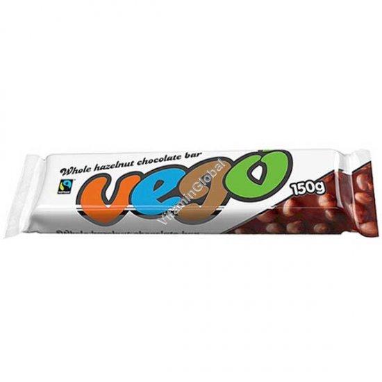 שוקולד טבעוני ללא גלוטן בתוספת אגוזי לוז שלמים 150 גרם - וגו