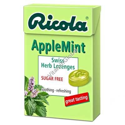 סוכריות צמחים קשות ללא סוכר בטעם תפוח-מנטה 50 גרם - ריקולה