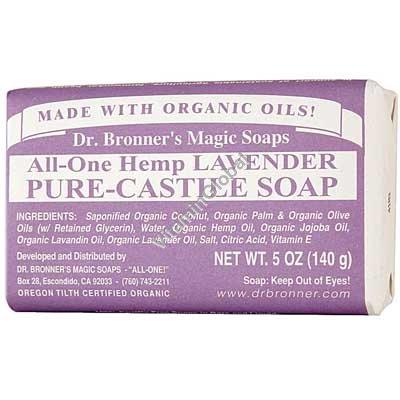 """סבון טבעי אמיתי לבנדר 140 גרם - ד""""ר ברונר"""