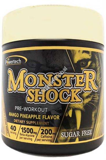 """מונסטר שוק - פרי וורקאוט - פורמולת קדם אימון כשר בד""""ץ בטעם מנגו אננס 220 גרם - פאוורטק"""
