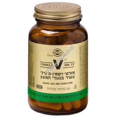 פורמולה VM-75 מולטי-ויטמין מינרל בתוספת צמחים 60 כמוסות צמחיות - סולגאר
