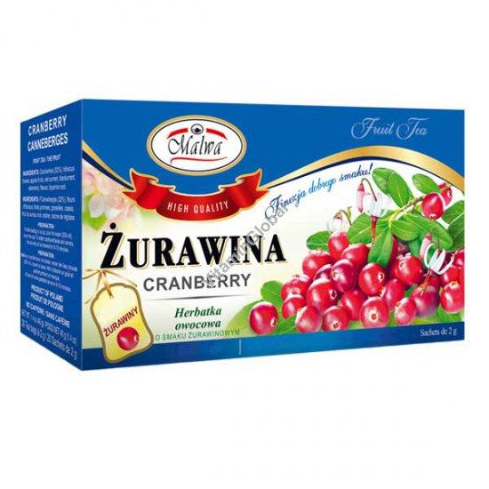 תה חמוציות ללא קפאין 25 שקיקים - מלווה