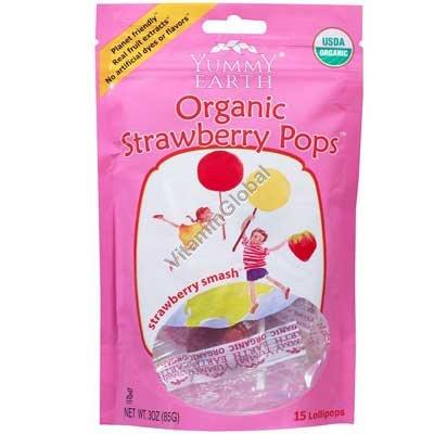 סוכריות תות שדה אורגניות על מקל 14 יח - יוממי