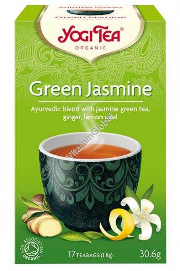תה ירוק יסמין אורגני עם ג\'ינג\'ר וקליפת לימון 17 שקיקים - יוגי טי
