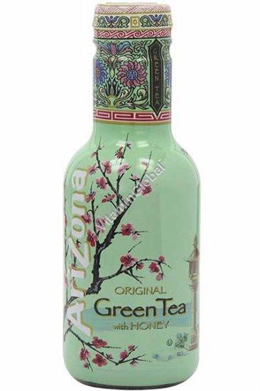 """משקה תה ירוק בטעם ג\'ינסנג ודבש 450 מ""""ל - אריזונה"""