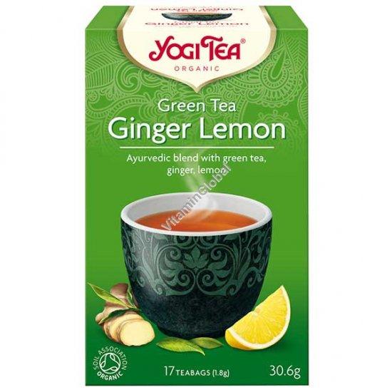 תה ירוק אורגני עם ג\'ינג\'ר ולימון 17 שקיקים - יוגי טי