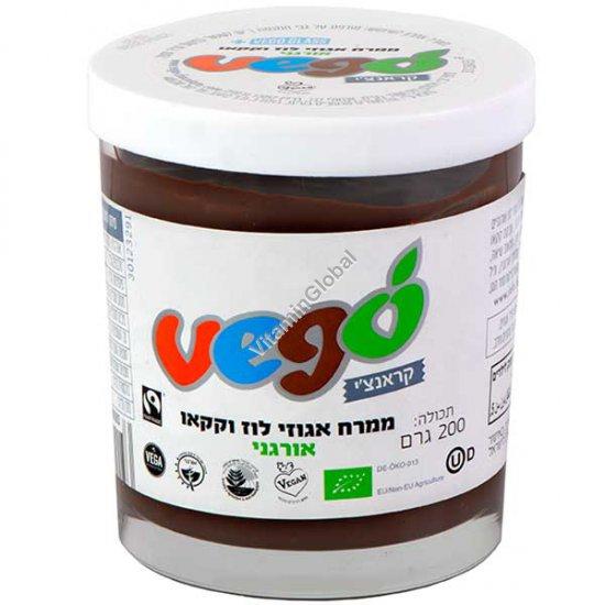 ממרח אגוזי לוז וקקאו, קראנצ`י, טבעוני, אורגני 200 גרם - Vego