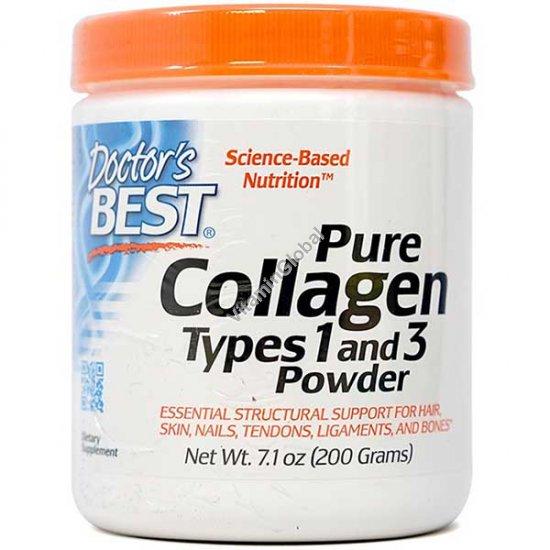 אבקת קולגן טהור סוג 1 ו3 200 גרם כ-30 מנות - דוקטורס בסט