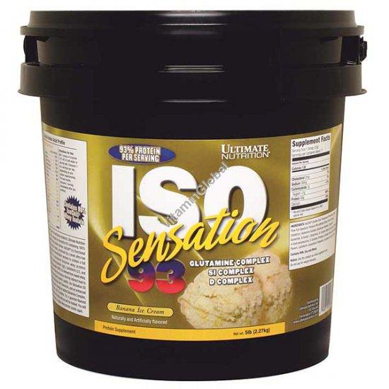 """איזו סנסיישן 93 - אבקת חלבון איזולט בטעם גלידת בננה 2.27 ק""""ג - אולטימט נוטרישן + משלוח חינם"""