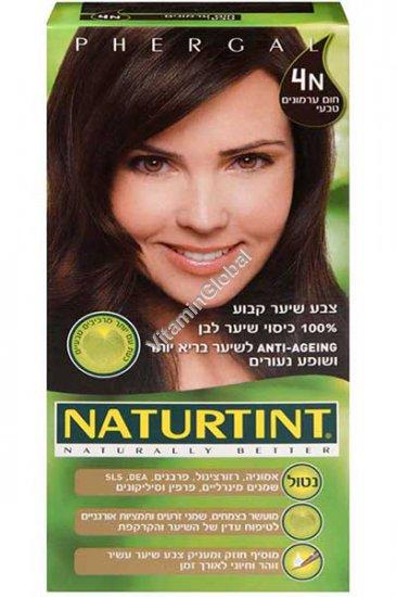 צבע שיער קבוע, גוון חום ערמונים טבעי 4N - נטורטינט