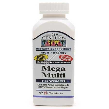 מולטי-ויטמין לנשים - מגה מולטי 90 טבליות - 21 סנצ\'ורי