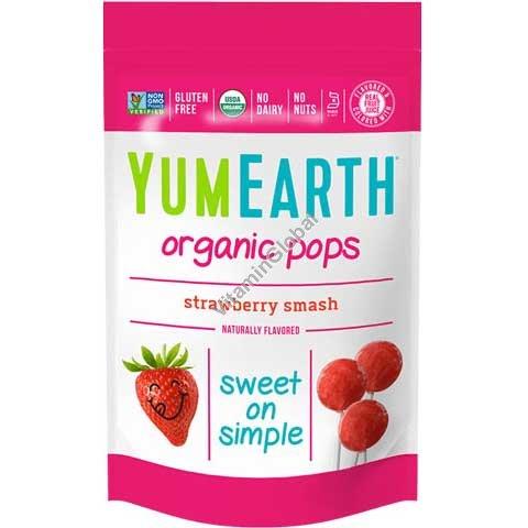סוכריות תות שדה אורגניות על מקל 14 יח - יומה