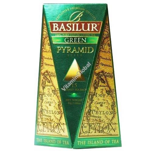 """פרימיום תה ירוק """"אי צילון"""" 15 שקיות תה בצורת פירמידה - בסילור"""