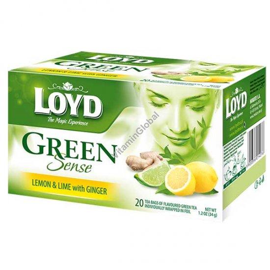 תה ירוק עם לימון, ליים וג\'ינג\'ר 20 שקיקים - לויד