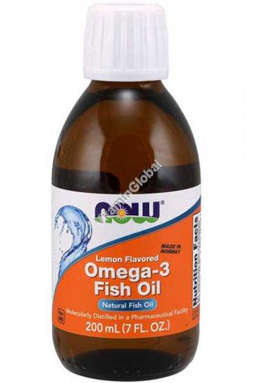 """אומגה 3 - שמן דגים נוזלי בטעם לימון מעודן 200 מ""""ל - נאו פודס"""