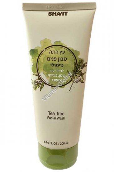 """סבון פנים טיפולי נוזלי מועשר בשמן עץ התה 200 מ""""ל - שביט"""