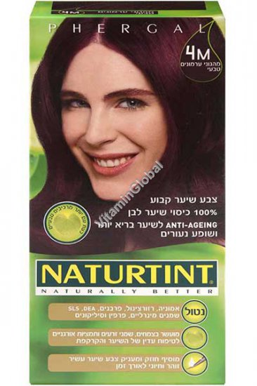 צבע שיער קבוע, גוון מהגוני ערמונים טבעי 4M - נטורטינט