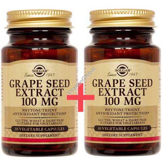 """תמצית זרעי ענבים 100 מ""""ג 60 (30+30) כמוסות צמחיות - סולגאר"""