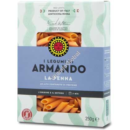 פסטה ללא גלוטן מקמח עדשים אדומות בצורת פנה 250 גרם - ארמנדו