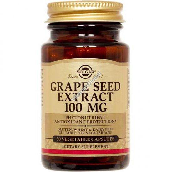 """תמצית זרעי ענבים 100 מ""""ג 30 כמוסות צמחיות - סולגאר"""