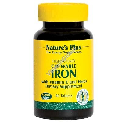 טבליות ברזל בתוספת ויטמין סי ללעיסה בטעם דובדבן 90 טבליות - Nature\'s Plus