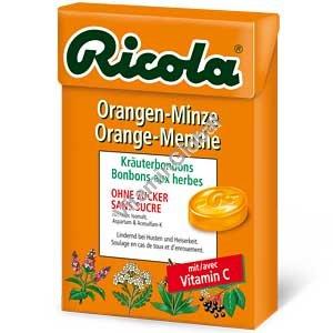 סוכריות צמחים קשות ללא סוכר בטעם תפוז-מנטה 50 גרם - ריקולה
