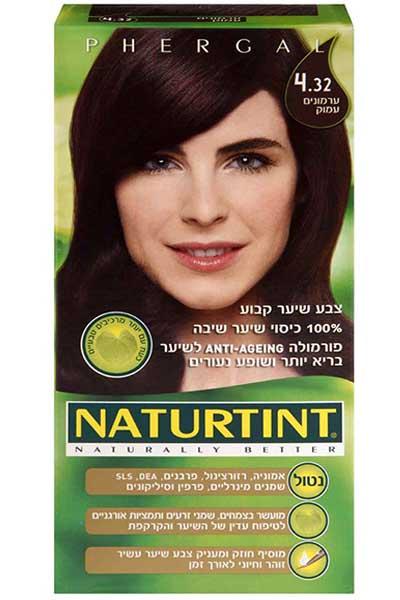 צבע שיער קבוע, גוון ערמונים עמוק 4.32 - נטורטינט