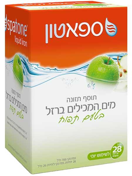 """ספאטון - מים המכילים ברזל טבעי בטעם תפוח 700 מ""""ל (28 שקיות 25 מ""""ל כ""""א)"""